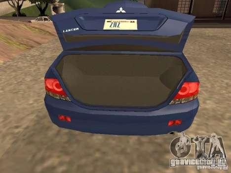 Mitsubishi Lancer 1.6 для GTA San Andreas вид сзади