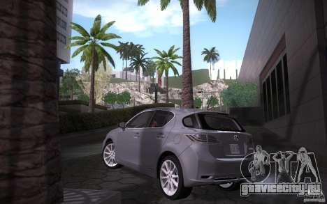 Lexus CT200H 2011 для GTA San Andreas вид сзади слева