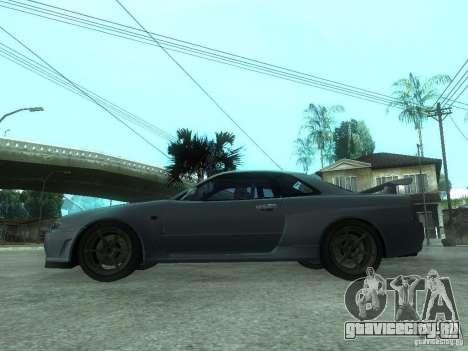 Nissan Skyline GT-R34 V-Spec для GTA San Andreas вид слева
