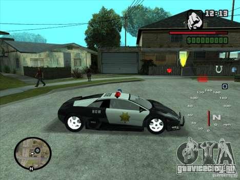Lamborghini Murcielago Police для GTA San Andreas вид изнутри