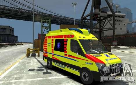 Mercedes-Benz Sprinter 2011 Ambulance для GTA 4 вид сзади