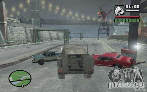 Военный грузовик для GTA San Andreas вид изнутри
