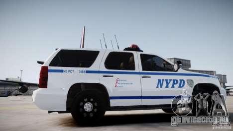 Chevrolet Tahoe 2012 NYPD для GTA 4 вид сзади слева