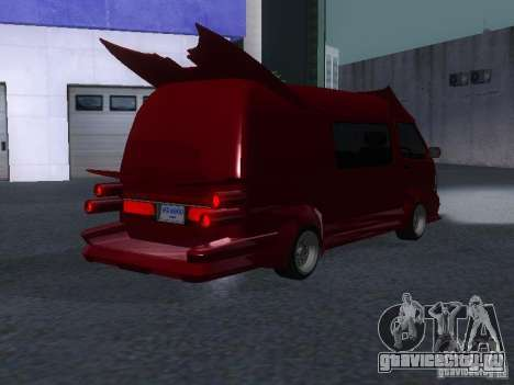 Toyota Hiace Vanning для GTA San Andreas вид сзади