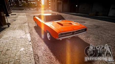 Dodge Charger RT 1969 tun v1.1 спортивный для GTA 4 вид сзади
