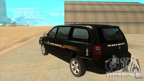 Dodge Caravan Sheriff 2008 для GTA San Andreas вид сзади слева