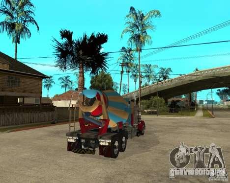 Kenworth W900 CEMENT TRUCK для GTA San Andreas вид сзади слева