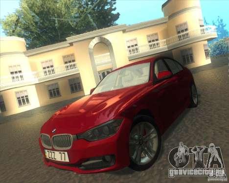 BMW 3 Series F30 2012 для GTA San Andreas вид изнутри