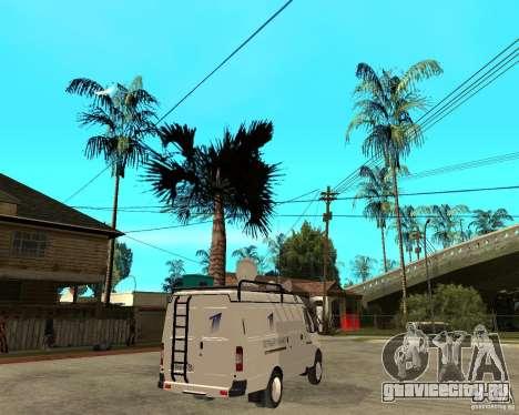 Газель 2705 Новости Первого Канала для GTA San Andreas вид сзади слева