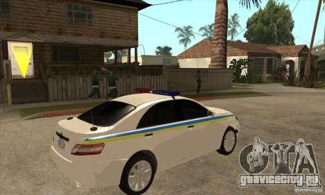 Toyota Camry 2010 SE Police UKR для GTA San Andreas вид справа