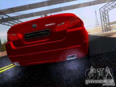 BMW 550i 2012 для GTA San Andreas вид сзади слева