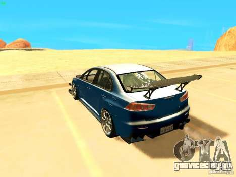 Mitsubishi Lancer Evolution X Time Attack для GTA San Andreas вид слева