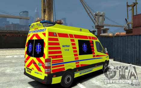 Mercedes-Benz Sprinter 2011 Ambulance для GTA 4 вид справа