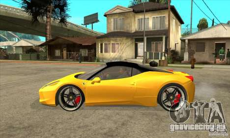 Ferrari 458 Italia custom для GTA San Andreas вид слева