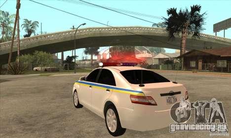 Toyota Camry 2010 SE Police UKR для GTA San Andreas вид сзади слева