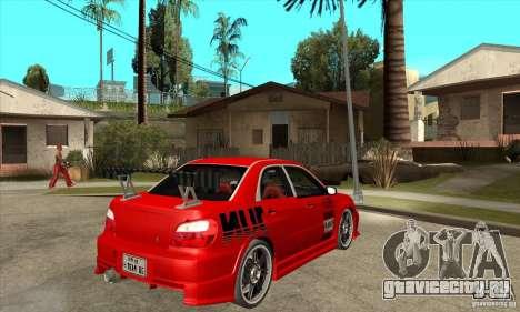 Subaru Impreza 2005 Tuned для GTA San Andreas вид справа