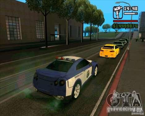 Nissan GTR35 Police Undercover для GTA San Andreas вид слева