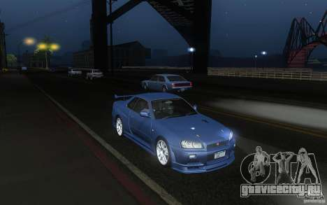 Nissan Skyline GT-R R34 M-spec Nur для GTA San Andreas вид сзади