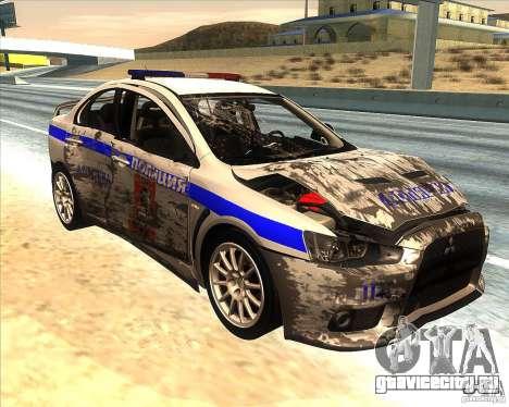 Mitsubishi Lancer Evolution X ППС Полиция для GTA San Andreas вид снизу