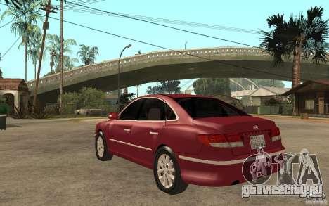 Hyundai Azera 2009 для GTA San Andreas вид сзади слева