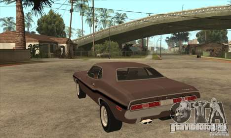 Dodge Challenger R/T Hemi 426 для GTA San Andreas вид сзади слева
