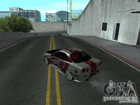 Nissan Skyline R 34 для GTA San Andreas вид сзади слева