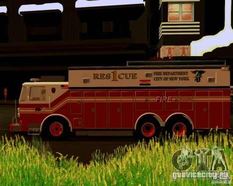 Pumper Firetruck Pierce F.D.N.Y для GTA San Andreas вид справа