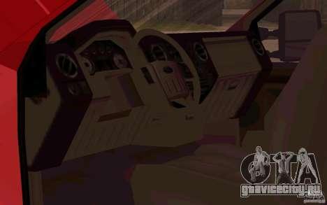 Ford F250 Super Dute для GTA San Andreas вид изнутри