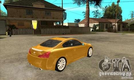 Infiniti G37 Coupe Sport для GTA San Andreas вид изнутри
