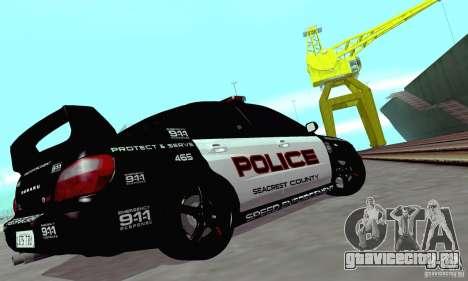 Subaru Impreza WRX STI Police Speed Enforcement для GTA San Andreas вид изнутри