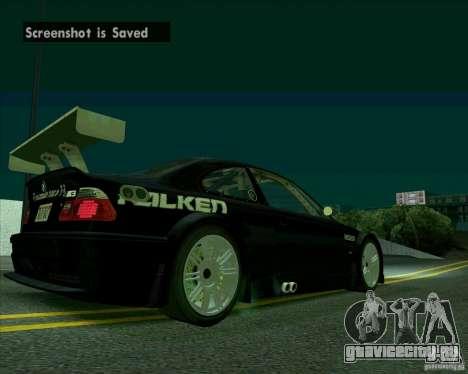 BMW M3 GTR Final для GTA San Andreas вид справа