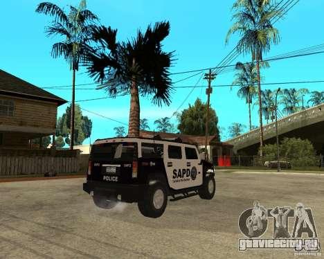 AMG H2 HUMMER SUV SAPD Police для GTA San Andreas вид справа