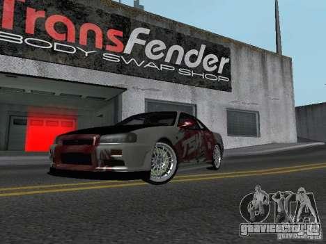 Nissan Skyline R 34 для GTA San Andreas вид слева