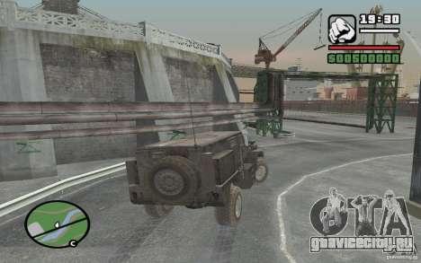 Военный грузовик для GTA San Andreas вид сзади
