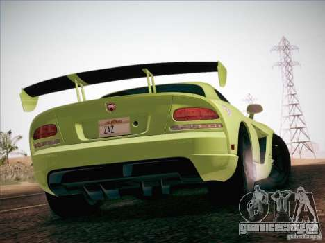 Dodge Viper SRT-10 ACR для GTA San Andreas вид снизу