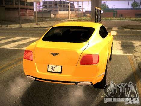 Bentley Continental GT 2011 для GTA San Andreas вид сзади слева