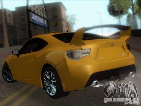 Toyota GT86 2012 для GTA San Andreas вид сзади