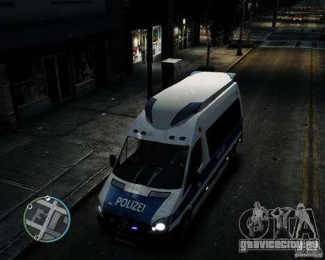 Mercedes Sprinter German Police для GTA 4 вид изнутри