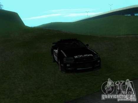 Nissan Skyline R34 Police для GTA San Andreas вид изнутри