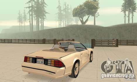 Chevrolet Camaro RS 1991 Convertible для GTA San Andreas вид снизу