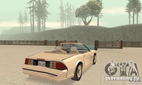 Chevrolet Camaro RS 1991 Convertible для GTA San Andreas вид снизу