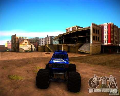 Monster Truck Blue Thunder для GTA San Andreas вид сзади слева