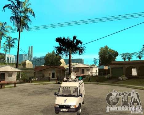 Газель 2705 Новости Первого Канала для GTA San Andreas вид сзади