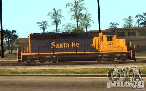 Локомотив SD 40 Santa Fe Blue/Yellow для GTA San Andreas вид слева
