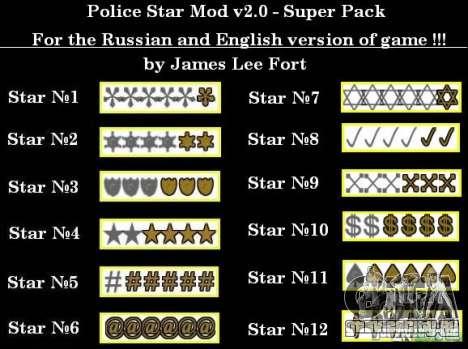 Новые звезды для худа 9 для GTA San Andreas