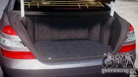 Mercedes-Benz S-Class W221 BRABUS SV12 для GTA 4 вид изнутри