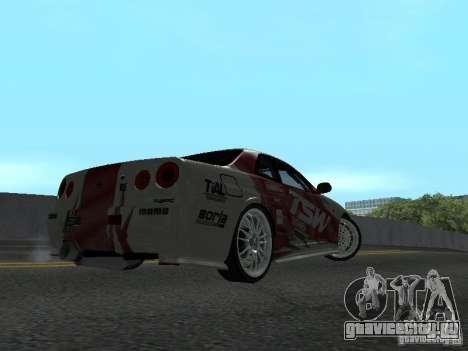 Nissan Skyline R 34 для GTA San Andreas вид сзади