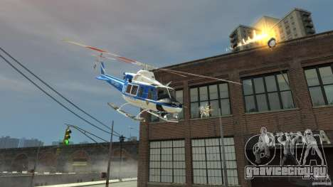 Bell412/NYPD Air Sea Rescue Helicopter для GTA 4 вид сзади слева