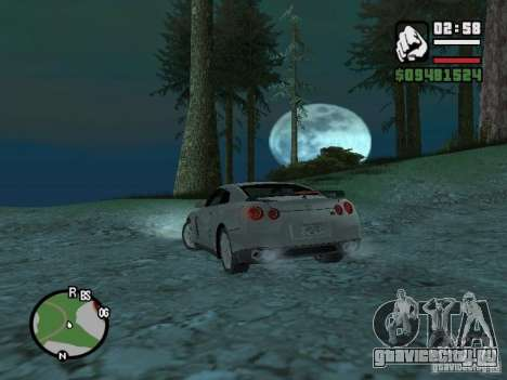 Nissan Skyline GTR для GTA San Andreas вид сзади