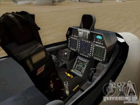 FA22 Raptor для GTA San Andreas вид изнутри